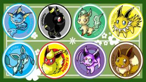 Eevee Evolution Buttons by ChibiTigre