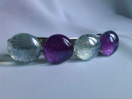 Purple and silver glass marble hairpin by mosquitone