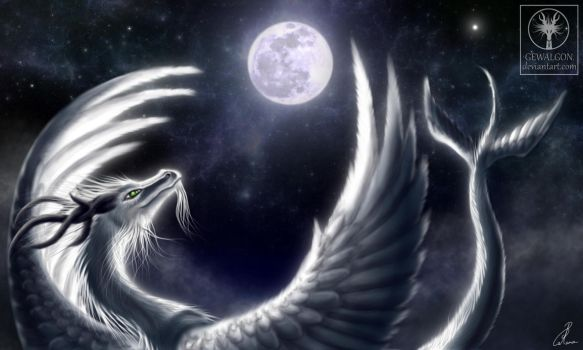Angel of night - Embracing the moon by Gewalgon