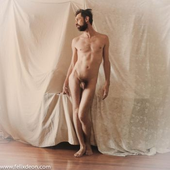 Nude Male Stock frontal simple leaning pose by TheMaleNudeStock
