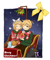 Kagamine Rin and Len - Merry Christmas Everyone~! by usarei