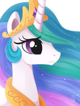 Princess Celestia Portrait by Exceru-Hensggott