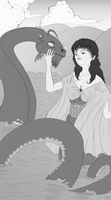 The Maiden and the Sea Serpant by shylittleghost