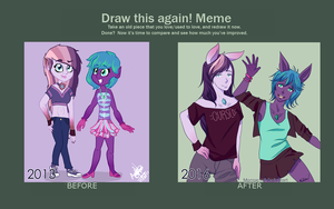 (Meme Before and After) Popcurse and Tiffany by Momoe-mi
