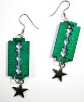 razor blade and star earrings by bleedsopretty