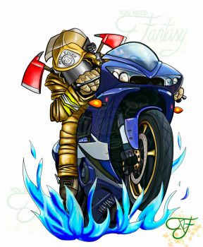 Motorcyclist firefighter by Youneedfantasy