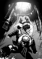 Wolverine vs Sabretooth - bw by Botonet