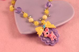 Purple Yellow Deer Necklace by PeppermintPuff