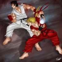 Ryu and Ken Street Fighter fan art by CJPalermo