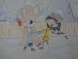 Phineas and isabella rain by zzoffer