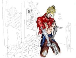 Vash panics about his arm by zefoxe