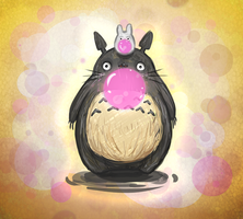 Bubble gum time with Totoro by TaffyVib