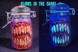 Bloody Demon Mouth Converted Stash Jar by Undead-Art