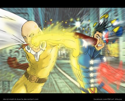 the patriot fist vs one punch man by david-madrid-duarte