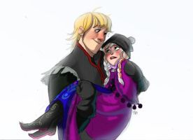 Kristoff and Anna (coloring from sketch) by zPePhungz