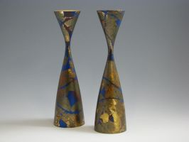 Turned, Gilded Candlesticks by handcraftedhumidors