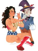 Wonder Woman and The Mad Hatter by kevinwada