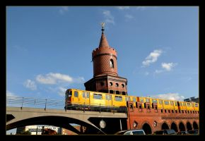 Yellow Train And Tower On The Bridge - Right by skarzynscy