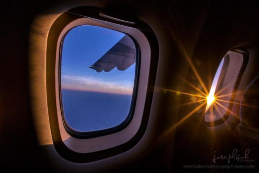 Sunset On Bangkok Airways Plane by josgoh