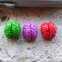 Colorful Brains Polymer Clay Charms by bloodyrosemaggot
