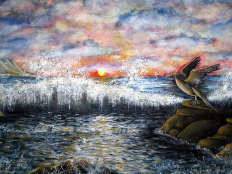 My First Painting:  Breaking Wave by AnnMarieBone