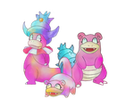 Slowbro Evolutions by awokenbyacloud