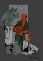 Hellboy and a Harpy by DarthScribbles