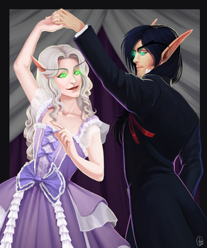 Commission:  Blood Elves Aryette and Reli by ultema