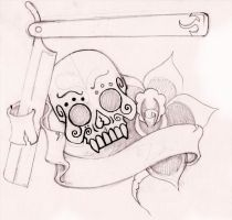 Loyalty Tattoo: SkullRoseBlade by anghellic7