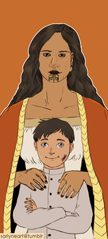 Dishonored: Daud and his mom by SarlyneART