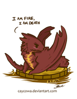The Hobbit - Chibi Smaug I am Fire, I am Death by caycowa