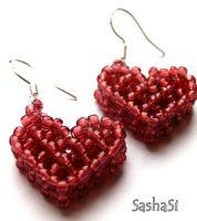 Beaded Heart Earrings by gordissima