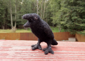 Needle Felted Cawing Crow Soft Sculpture by DancingVulture