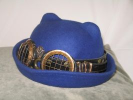 Blue Cat-Eared Bowler with Hatband and Goggles 2 by Windthin
