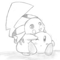 pikachu and kirby kawaii by kirby-kta-tsuki
