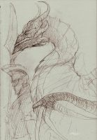 Forlorn Plains Guard And Wyvern Drawing by Brollonks