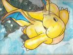 Dragonite Poekmon watercolor on canvas by LightningChaser