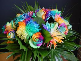 Happy Colors Rainbow Bouquet by RAINBOWedROSES