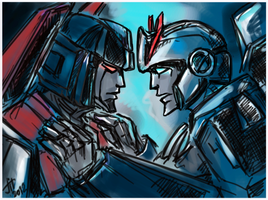Starscream and Prowl by Jit-Seven