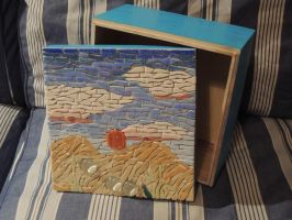 Sunset Box lid - WIP.4: Painted box [mosaics] by AloiInTheSky