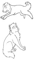 free lineart - dog and wolf by PointAdoptsforyou