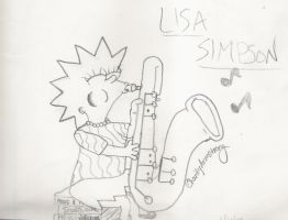 Lisa Simpson Playing Saxophone by charityann