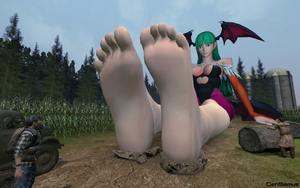 Giantess Morrigan Relaxes in a Farm by GenSamus