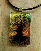 Sunset Mighty Tree Glass by FusedElegance