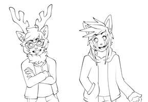 FURRY PEOPLE Lineart by FlashnTails
