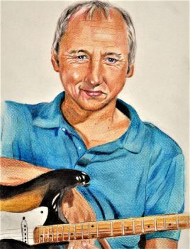 Knopfler Guitarist Cover Drawing by ZuzanaGyarfasova