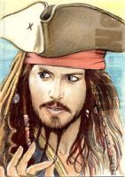 Johnny Depp miniature by whu-wei