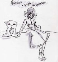 Teddy bears and porcelain doll by commy