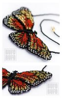 Fiery Butterfly beaded necklace by psihoze