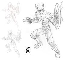 Avengers: Captain America pencils by Grigori77